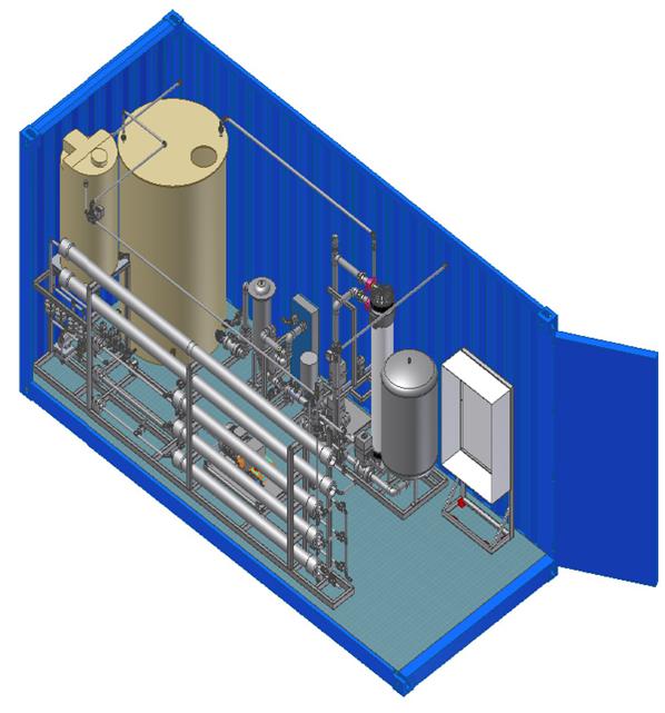 Abbildung 3: Dreidimensionaler Aufbau einer Umkehrosmoseanlage © Fraunhofer ISE